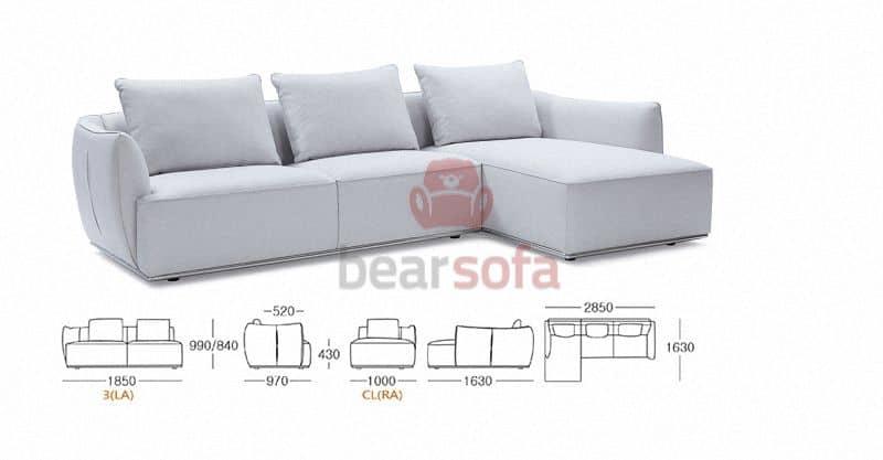 Kích Thước Ghế Sofa Góc Pori L-Shaped Sofa