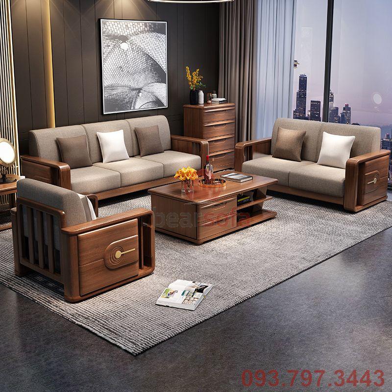 Mẫu ghế sofa gỗ lót nệm đẹp - Mẫu nệm lót đẹp nhất 2020 - Mẫu 14